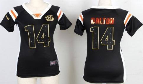 Nike Cincinnati Bengals #14 Andy Dalton Drilling Sequins Black Womens Jersey