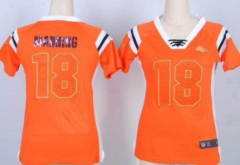 Nike Denver Broncos #18 Peyton Manning Drilling Sequins Orange Womens Jersey
