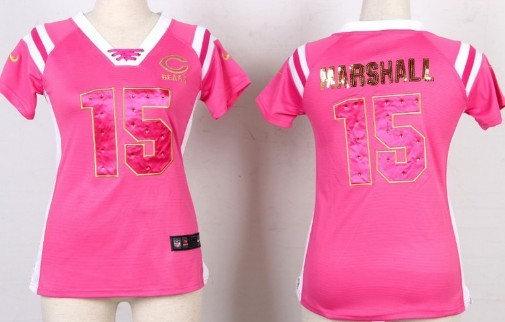 Nike Chicago Bears #15 Brandon Marshall Drilling Sequins Pink Womens Jersey