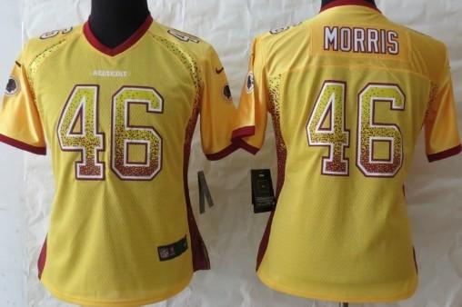 Nike Washington Redskins #46 Alfred Morris 2013 Drift Fashion Gold Womens Jersey