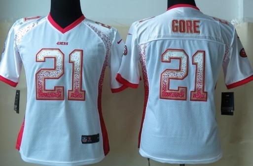 Nike San Francisco 49ers #21 Frank Gore 2013 Drift Fashion White Womens Jersey