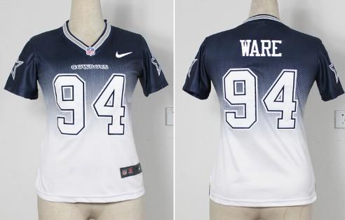 Nike Dallas Cowboys #94 DeMarcus Ware 2013 Drift Fashion II Blue Womens Jersey