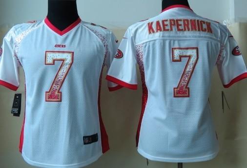 Nike San Francisco 49ers #7 Colin Kaepernick 2013 Drift Fashion White Womens Jersey
