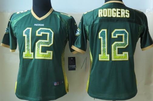 Nike Green Bay Packers #12 Aaron Rodgers 2013 Drift Fashion Green Womens Jersey
