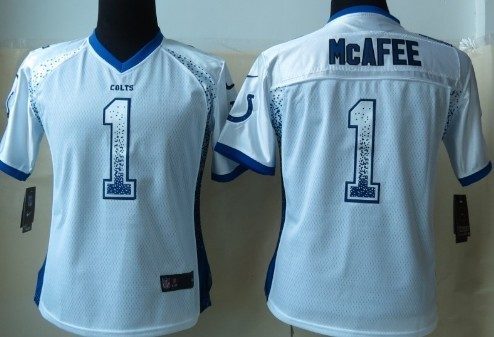 Nike Indianapolis Colts #1 Pat McAfee 2013 Drift Fashion White Womens Jersey