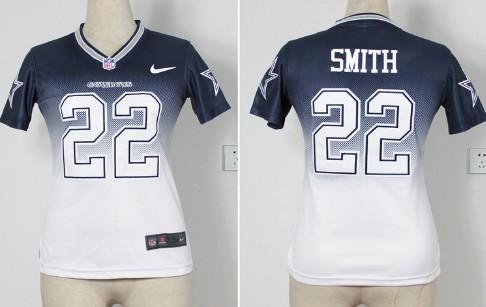 Nike Dallas Cowboys #22 Emmitt Smith 2013 Drift Fashion II Blue Womens Jersey