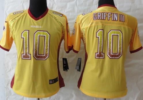 Nike Washington Redskins #10 Robert Griffin III 2013 Drift Fashion Gold Womens Jersey