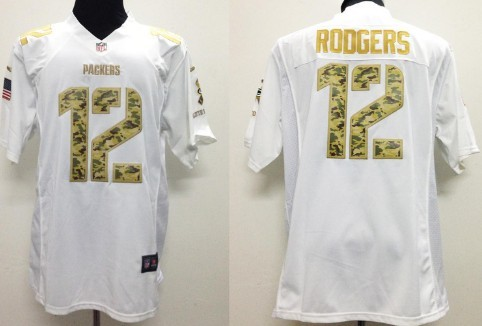 Nike Green Bay Packers #12 Aaron Rodgers Salute to Service White Game Jersey