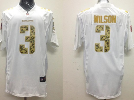 Nike Seattle Seahawks #3 Russell Wilson Salute to Service White Game Jersey