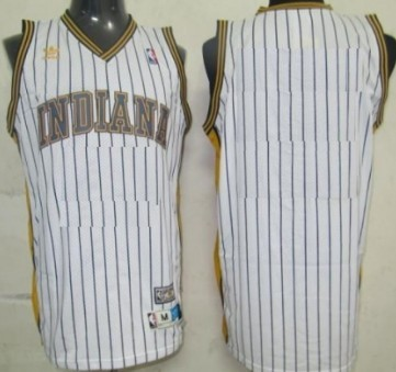 Mens Indiana Pacers Customized White Pinstripe Throwback Jersey