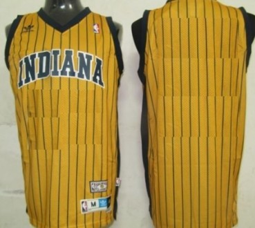 Mens Indiana Pacers Customized Yellow Pinstripe Throwback Jersey