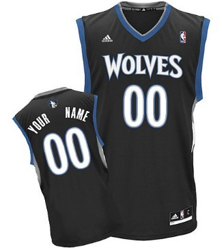 Mens Minnesota Timberwolves Customized Black Jersey