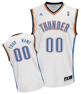 Mens Oklahoma City Thunder Customized White Jersey