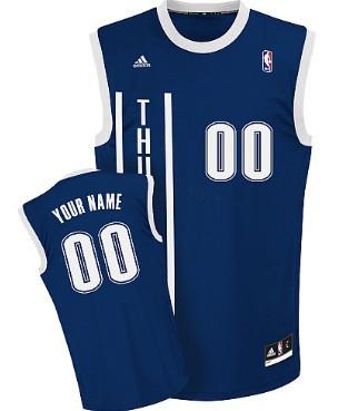 Mens Oklahoma City Thunder Customized Navy Blue Jersey