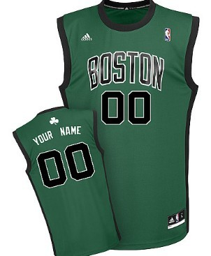 Mens Boston Celtics Customized Green With Black Jersey
