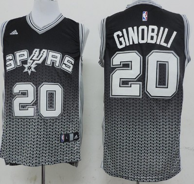 San Antonio Spurs #20 Manu Ginobili Resonate Fashion Black Jersey