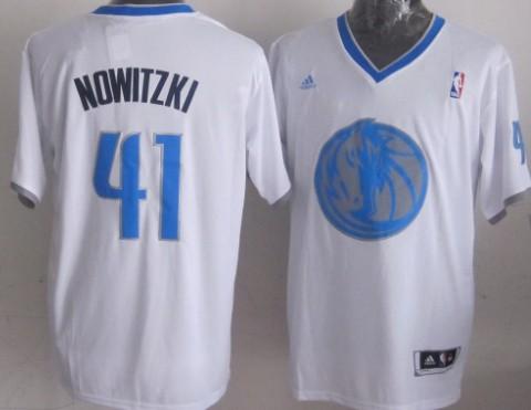 Dallas Mavericks #41 Dirk Nowitzki Revolution 30 Swingman 2013 Christmas Day White Jersey