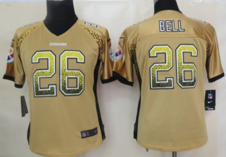 Nike Pittsburgh Steelers #26 LeVeon Bell 2013 Drift Fashion Yellow Womens Jersey