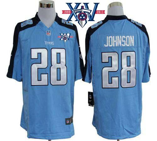 Nike Tennessee Titans #28 Chris Johnson Light Blue Team Color With 15th Season Patch Stitched Game Jersey