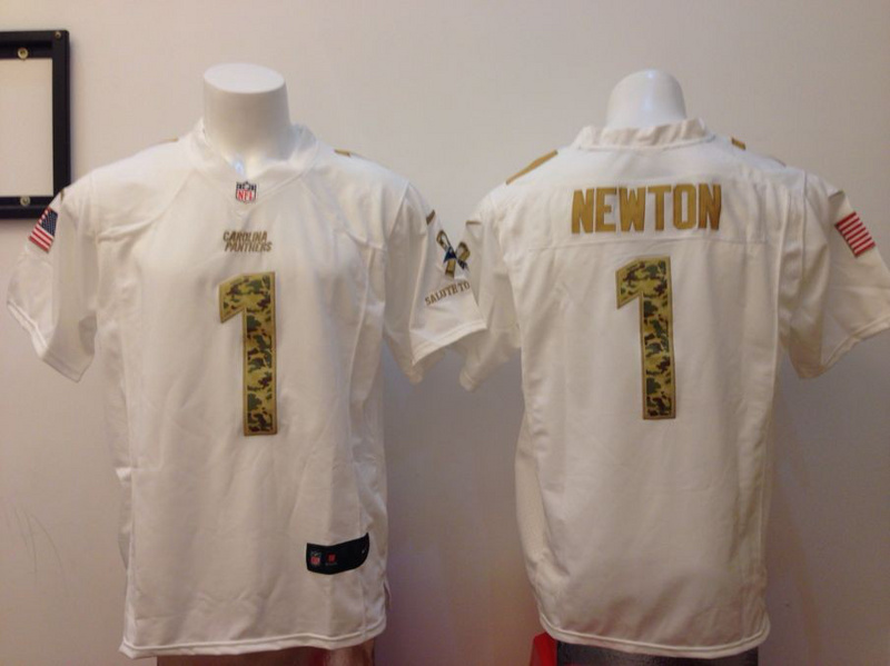 Nike Carolina Panthers 1 Cam Newton Salute to Service White Game Jersey