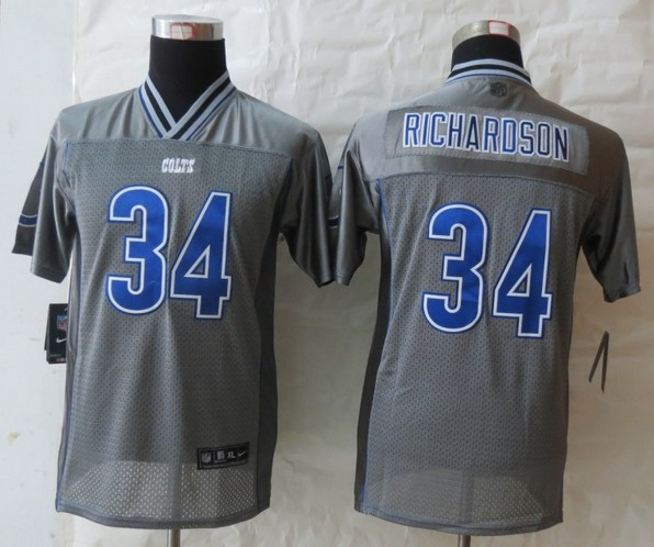 Nike Indianapolis Colts 34 Trent Richardson Grey Vapor Elite Kids Jerseys