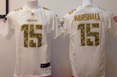 Nike Chicago Bears #15 Brandon Marshall Salute to Service White Game Jersey