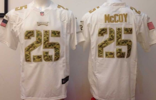 Nike Philadelphia Eagles #25 LeSean McCoy Salute to Service White Game Jersey
