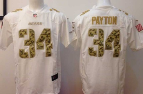 Nike Chicago Bears #34 Walter Payton Salute to Service White Game Jersey