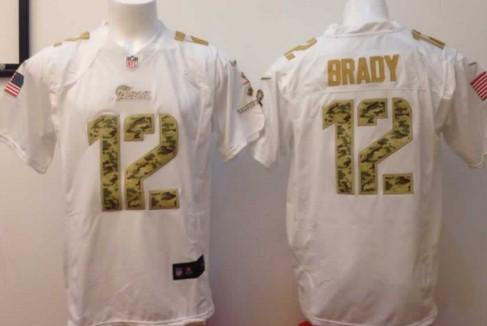 Nike New England Patriots #12 Tom Brady Salute to Service White Game Jersey