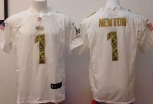 Nike Carolina Panthers #1 Cam Newton Salute to Service White Game Jersey