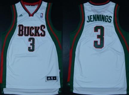Milwaukee Bucks #3 Brandon Jennings Revolution 30 Swingman White Jersey