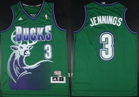 Milwaukee Bucks #3 Brandon Jennings ABA Hardwood Classics Swingman Green Jersey