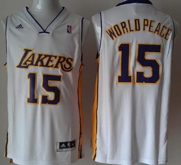 Los Angeles Lakers #15 World Peace Revolution 30 Swingman White Jersey