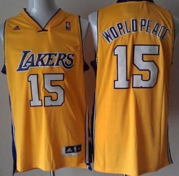 Los Angeles Lakers #15 World Peace Revolution 30 Swingman Yellow Jersey