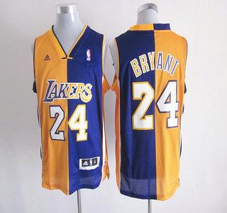 Los Angeles Lakers 24 Kobe Bryant Yellow and Purle NBA Men's Split Swingman Jerseys