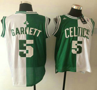 Boston Celtics #5 Kevin Garnett Revolution 30 Swingman Green And White Split Jersey