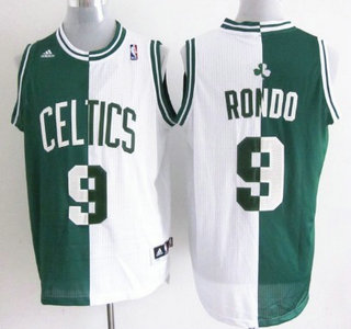 Boston Celtics #9 Rajon Rondo Revolution 30 Swingman Green And White Split Jersey