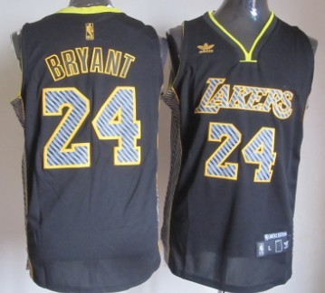 Los Angeles Lakers #24 Kobe Bryant Black Electricity Fashion Jersey