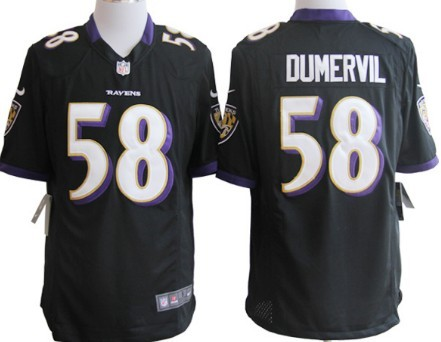 Nike Baltimore Ravens #58 Elvis Dumervil Black Game Jersey