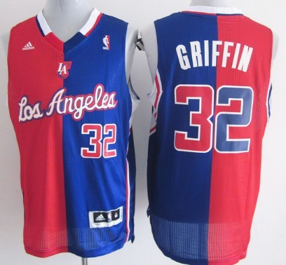 Los Angeles Clippers #32 Blake Griffin Revolution 30 Swingman Red And Blue Split Jersey