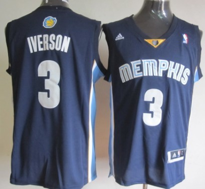 Memphis Grizzlies #3 Allen Iverson Revolution 30 Swingman Navy Blue Jersey