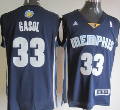 Memphis Grizzlies #33 Marc Gasol Revolution 30 Swingman Navy Blue Jersey