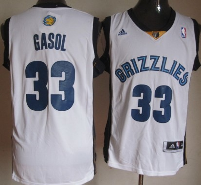Memphis Grizzlies #33 Marc Gasol Revolution 30 Swingman White Jersey