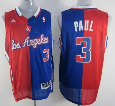 Los Angeles Clippers #3 Chris Paul Revolution 30 Swingman Red And Blue Split Jersey