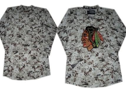 Chicago Blackhawks Blank White Camo Jersey