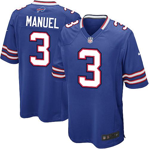Nike Buffalo Bills #3 EJ Manuel Game blue Jersey
