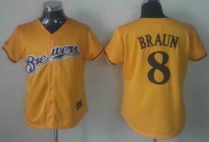 Milwaukee Brewers #8 Ryan Braun Yellow Womens Jersey