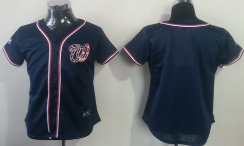 Washington Nationals Blank Navy Blue Womens Jersey