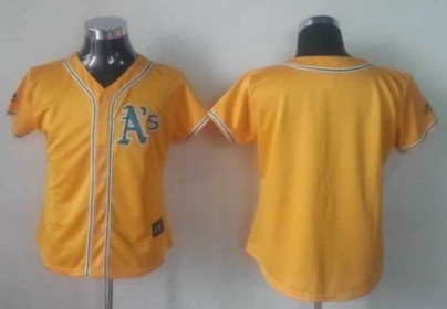 Oakland Athletics Blank Yellow Womens Jersey