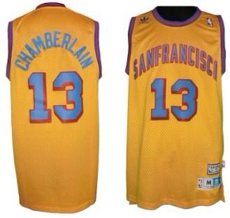 San Francisco Warriors #13 Wilt Chamberlain ABA Hardwood Classic Swingman Yellow Jersey